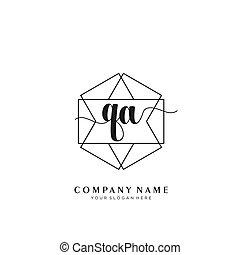 Initial handwriting logo geometric template vector