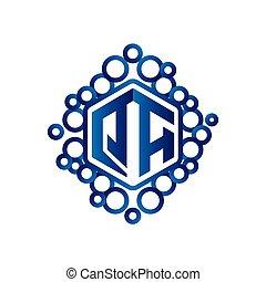 QA Initial letter hexagonal logo vector