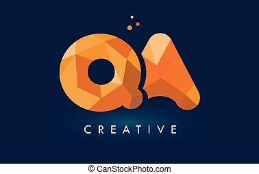 QA Letter With Origami Triangles Logo. Creative Yellow Orange Origami Design Letters.