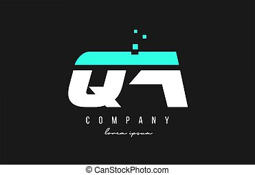 qa q a alphabet letter logo combination in blue and white color. Creative icon design for business
