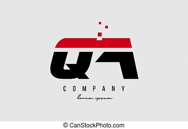 qa q a alphabet letter logo combination in red and black color. Creative icon design for business and company