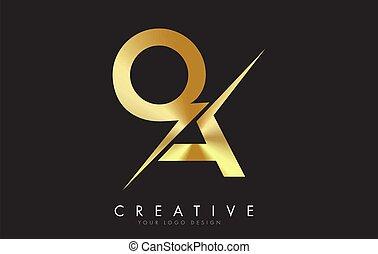 QA Q A Golden Letter Logo Design with a Creative Cut. Creative logo design with Black Background.