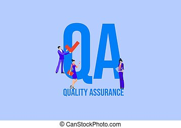 QA Quality assurance. Business management investment business strategy payment by cash and credit card social media marketing technologies vector informational online reference for advertising .