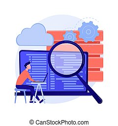 QA tester. Developmental kit. Analyzing binary code. Close inspection, coding, checking open script. Website administration. Reaffirming quality. Vector isolated concept metaphor illustration.