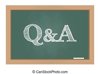 Q&A text on chalkboard - Questions and answers text drawn on...
