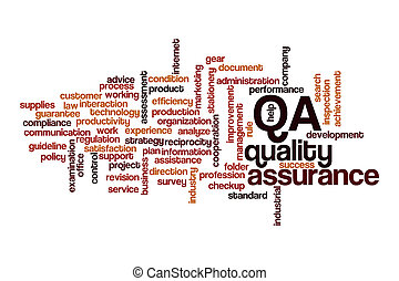 QA word cloud concept on white background