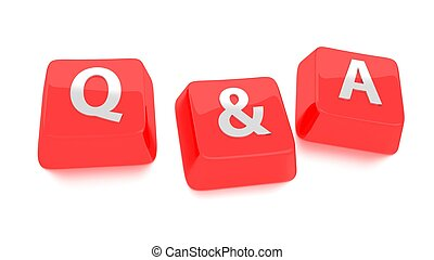 Q&A written in white on red computer keys. 3d illustration. ...