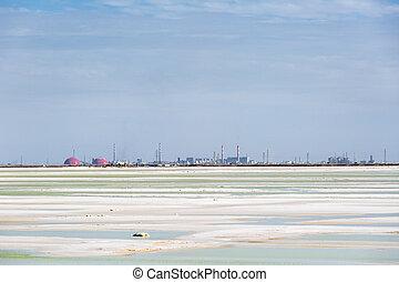 qarhan salt lake industrial landscape, golmud city, qinghai ...