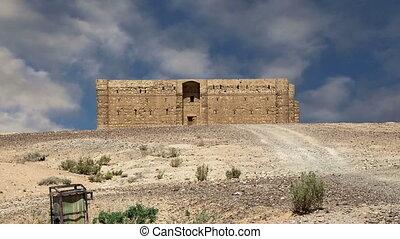 qasr, kharana, (kharanah, oder, harrana), der, wüste,...