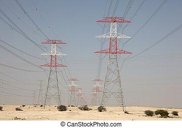qatar, 伝達, 高く, タワー, 電圧, 砂漠