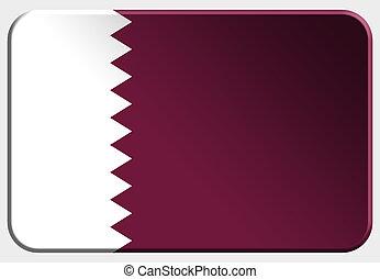 Qatar 3D button on white background