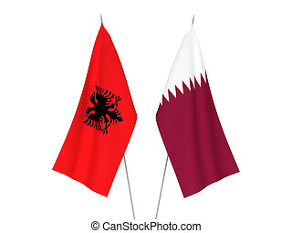 Qatar and Albania flags - National fabric flags of Qatar and...