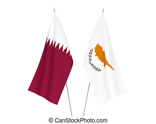 Qatar and Cyprus flags - National fabric flags of Qatar and ...