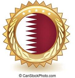Qatar Badge - Gold badge with the flag of Qatar.