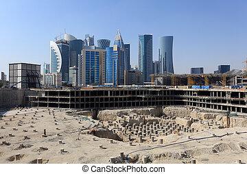 qatar, construção, centro cidade, doha, local