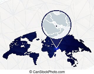 Qatar detailed map highlighted on blue rounded World Map.