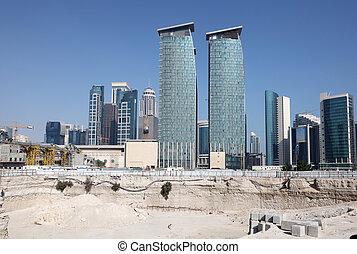 qatar, doha, local, distrito, centro cidade, construção