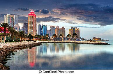 qatar, doha, noche, contorno, centro, ciudad
