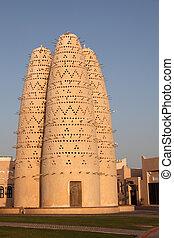 qatar, doha, torres, paloma, katara, cultural, aldea