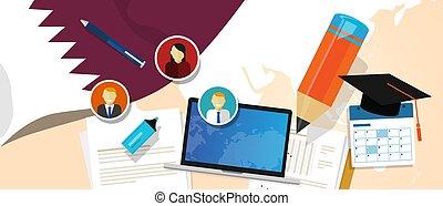 Qatar education school university concept with icon laptop ...