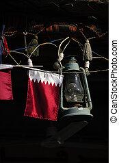 Qatar flag and lamp