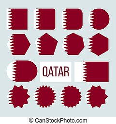 Qatar Flag Collection Figure Icons Set . White Band ...