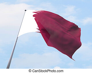 Qatar flag flying on clear sky.