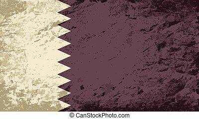 Qatar flag. Grunge background.