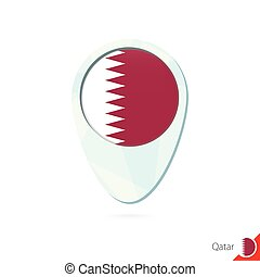 Qatar flag location map pin icon on white background. Vector...