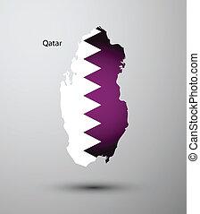 Qatar flag on map
