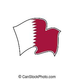 qatar, illustration., flag., nacional, al, vector, adaam