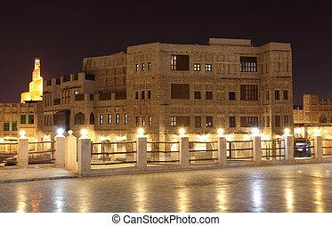 qatar, iluminado, doha, souq, waqif, noche