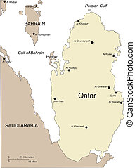 Qatar, Major Cities and Capital and Surrounding Countries -...