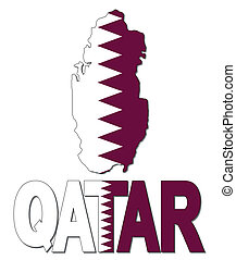 Qatar map flag and text