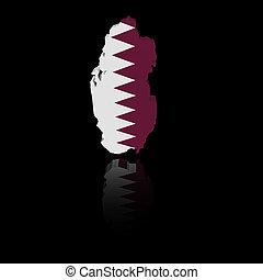 Qatar map flag with reflection illustration