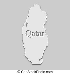 Qatar map in a bright tone on the gray background