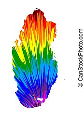 Qatar - map is designed rainbow abstract colorful pattern, ...