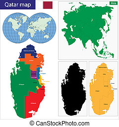 Qatar map - Map of the State of Qatar drawn with high detail...