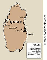 Qatar map. Outline illustration country map with main cities...