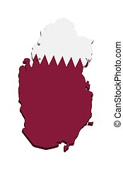 Qatar, map with flag 3d Vector illustration