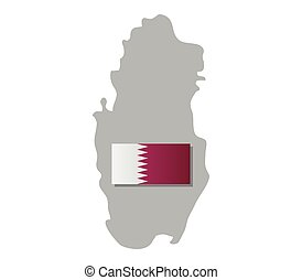 qatar map with flag