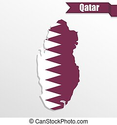 Qatar map with flag inside and ribbon
