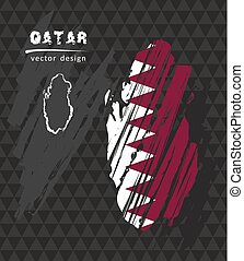 Qatar map with flag inside on the black background. Chalk sketch vector illustration