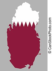 Qatar, map with flag Vector illustration