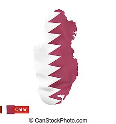 Qatar map with waving flag of country.