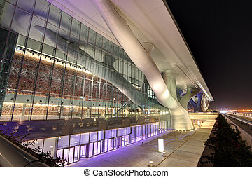 Qatar National Convention Centre at night. Doha, Qatar, Middle East