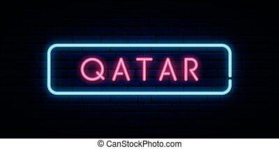 Qatar neon sign. Bright light signboard. Vector banner.