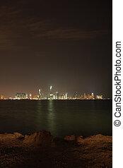 Qatar night skyline