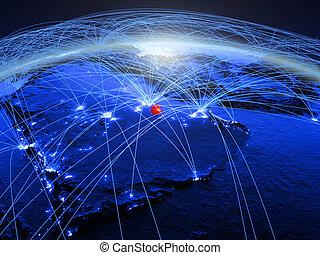 Qatar on blue blue digital globe