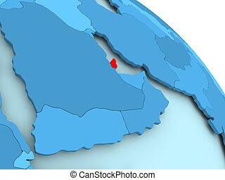 Qatar on blue globe